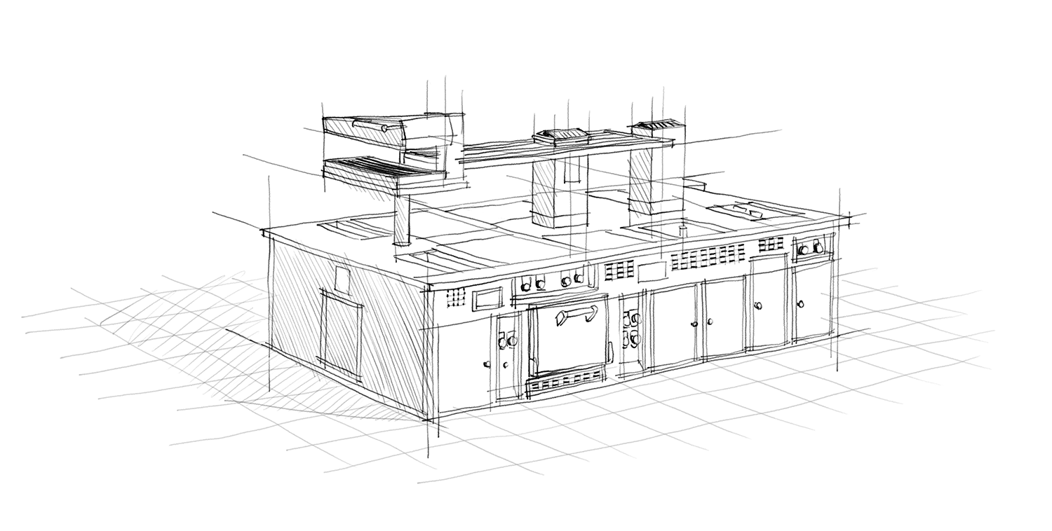 drawing Molteni stove